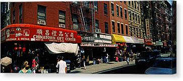People In A Street, Mott Street Canvas Print by Panoramic Images