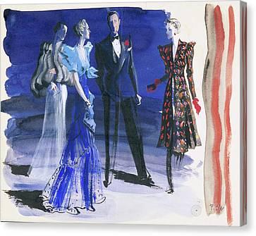 People In Evening Wear Canvas Print by Ren? Bou?t-Willaumez