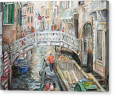 Canvas Print featuring the painting People In Venice by Becky Kim