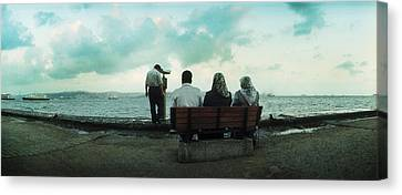People Looking Out On The Bosphorus Canvas Print by Panoramic Images