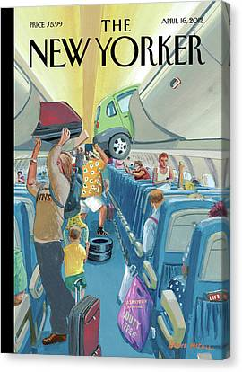 Vacation Canvas Print - People On An Airplane Putting Various Items by Bruce McCall