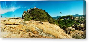 People On Boulders That Separate Canvas Print
