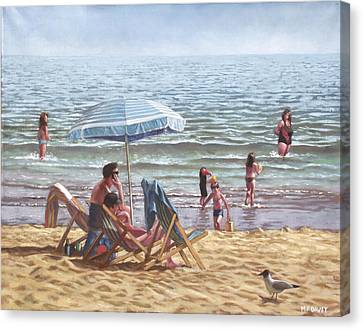 People On Bournemouth Beach Parasol Canvas Print by Martin Davey