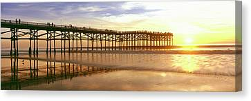 People On Pier At Sunset, Crystal Pier Canvas Print by Panoramic Images