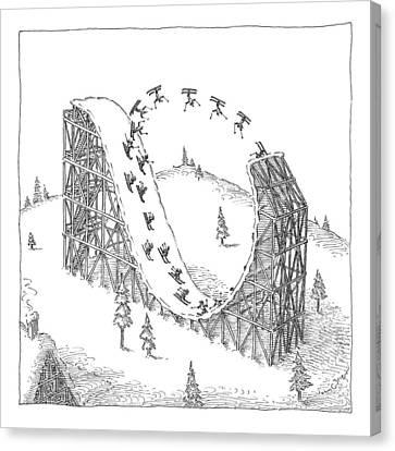 People Ski On A Circular Ski Ramp That Resembles Canvas Print