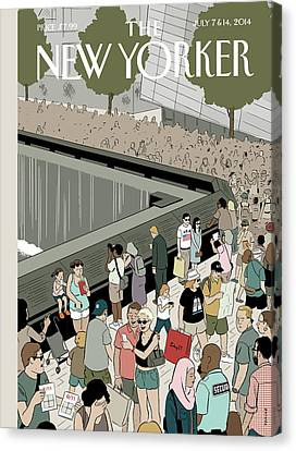 People Visit The 9/11 Memorial Canvas Print by Adrian Tomine