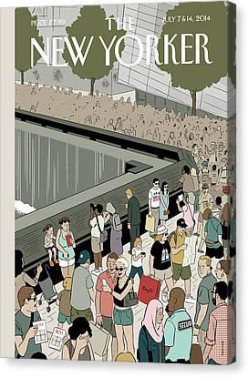 People Visit The 9/11 Memorial Canvas Print