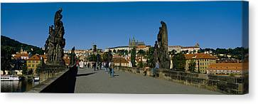 People Walking On A Bridge, Charles Canvas Print by Panoramic Images