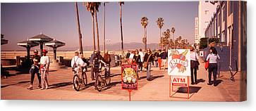 People Walking On The Sidewalk, Venice Canvas Print by Panoramic Images