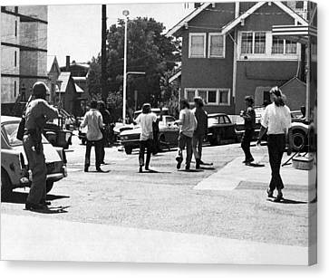 Police Canvas Print - People's Park Bloody Thursday by Underwood Archives Peterson
