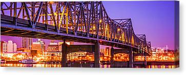 Peoria Illinois Bridge Panoramic Picture Canvas Print by Paul Velgos