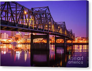 Peoria Illinois Murray Baker Bridge At Night Canvas Print