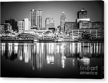Peoria Illinois Skyline At Night In Black And White Canvas Print by Paul Velgos
