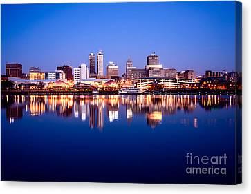 Peoria Illinois Skyline At Night Canvas Print by Paul Velgos