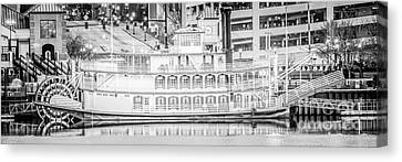 Peoria Riverboat Panoramic Black And White Photo Canvas Print by Paul Velgos