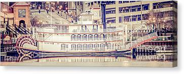 Peoria Riverboat Vintage Panorama Photo Canvas Print by Paul Velgos