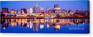 Peoria Skyline At Night Panorama Photo Canvas Print by Paul Velgos