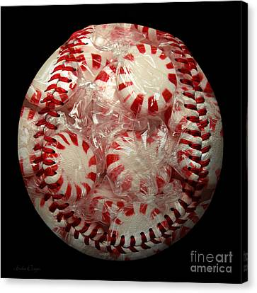 Peppermint Candy Baseball Square Canvas Print by Andee Design