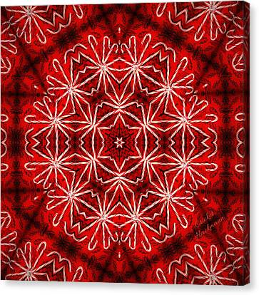 Peppermint Snowflake Canvas Print by Cricket Hackmann