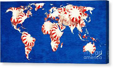 Peppermint World Painting Canvas Print by Andee Design