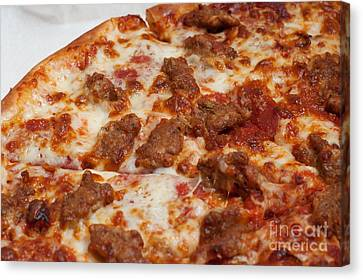 Pepperoni And Italian Sausage Pizza Canvas Print by Andee Design
