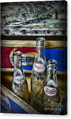 Vintage Soda Bottles Canvas Print - Pepsi Bottles And Crates by Paul Ward