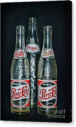 Vintage Soda Bottles Canvas Print - Pepsi Bottles From The 1950s by Paul Ward