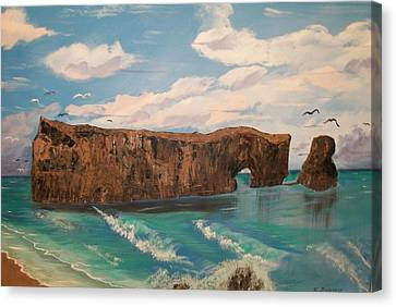 Canvas Print featuring the painting Perce Rock by Sharon Duguay