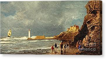 Water Vessels Canvas Print - Perch Rock - New Brighton 1829 by Lianne Schneider