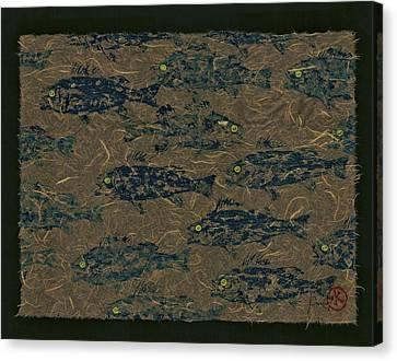 Perch School On Mocha Unryu Paper Canvas Print