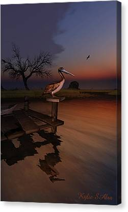 Canvas Print featuring the digital art Perch With A View by Kylie Sabra