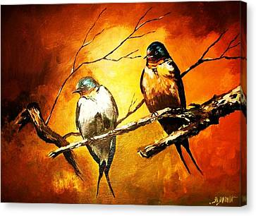 Perched Swallows Canvas Print