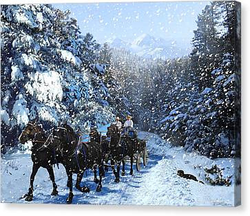 Percheron Team In Snow Canvas Print by Ric Soulen