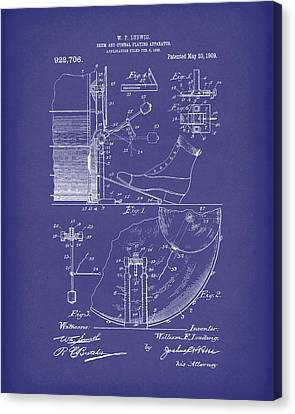 Percussion System 1909 Patent Art Blue Canvas Print