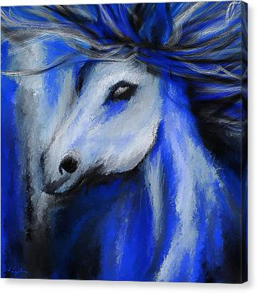 Horse Lover Canvas Print - Perfect Blue- Gray And Blue Painting by Lourry Legarde