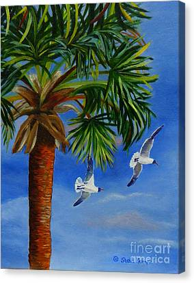 Canvas Print featuring the painting Perfect Flight  Palm Tree And Seagulls by Shelia Kempf