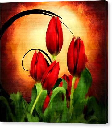 Perfect Gift Of Love- Red Tulips Paintings Canvas Print