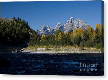 Perfect Spot For Fishing With Grand Teton Vista Canvas Print