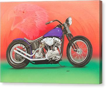Harley Davidson  Shovel Head Canvas Print by Mark Zelenkovich