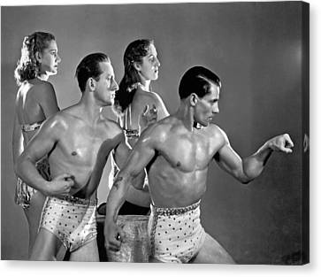 Performing Troupe Strike Pose Canvas Print by Underwood Archives