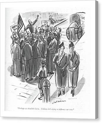 Perhaps We Shouldn't Listen. I Believe He's Canvas Print by Helen E. Hokinson