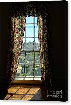 Old Windows Canvas Print - Period Window With Floral Curtains by Edward Fielding