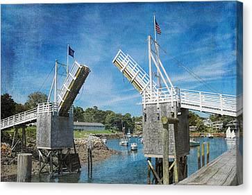 Perkins Cove Drawbridge Textured Canvas Print by Jemmy Archer