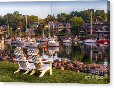 Port Town Canvas Print - Perkins Cove Harbor by Jerry Fornarotto