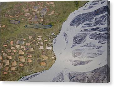 Permafrost Polygons And Braided River Canvas Print by Roger Clifford