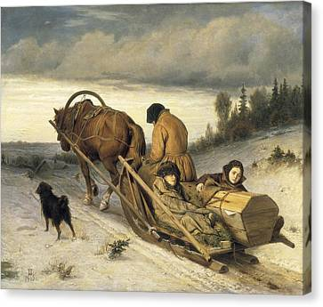 Perov, Vasily 1833-1882. Seeing-off Canvas Print by Everett