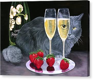 Perrier Jouet Et Le Chat Canvas Print by Karen Zuk Rosenblatt