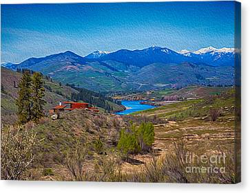 Perrygin Lake In The Methow Valley Landscape Art Canvas Print by Omaste Witkowski