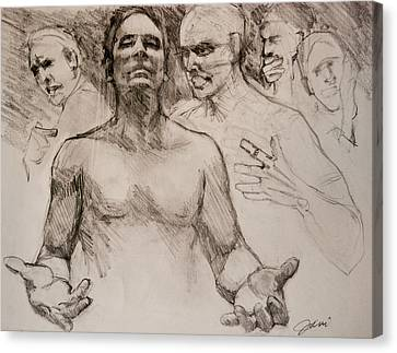 Canvas Print featuring the drawing Persecution Sketch by Jani Freimann