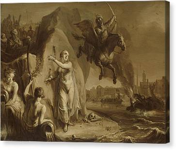 Perseus And Andromeda. Allegory Of The Liberation Canvas Print by Litz Collection